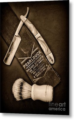 Barber - Tools For A Close Shave - Black And White Metal Print