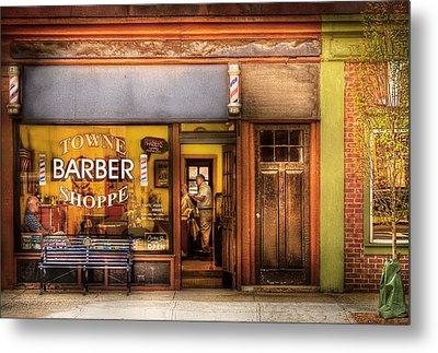 Barber - Towne Barber Shop Metal Print by Mike Savad
