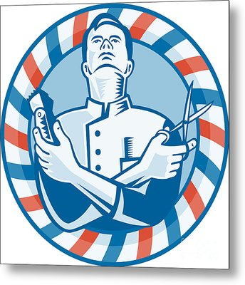 Barber With Clipper Hair Cutter And Scissors Metal Print by Aloysius Patrimonio