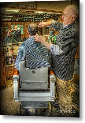 Metal Print featuring the photograph  The Barber Shop Shave And A Haircut - Barber Shop by Lee Dos Santos