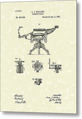 Barber's Chair 1891 Patent Art Metal Print by Prior Art Design