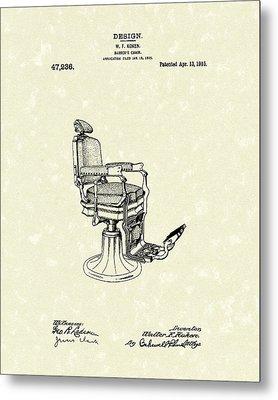 Barber's Chair 1915 Patent Art Metal Print by Prior Art Design