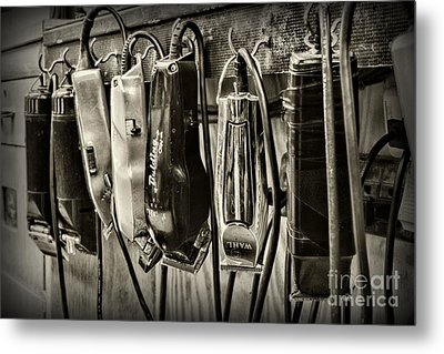 Barbershop Clippers In Black And White Metal Print