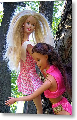 Metal Print featuring the photograph Barbie's Climbing Trees by Nina Silver