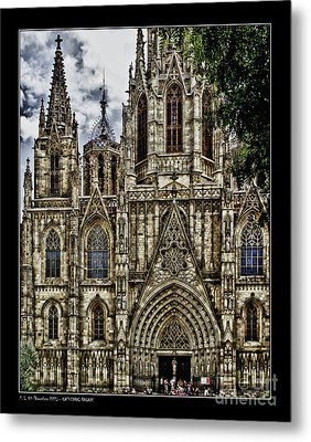 Barcelona Cathedral Facade Metal Print by Pedro L Gili