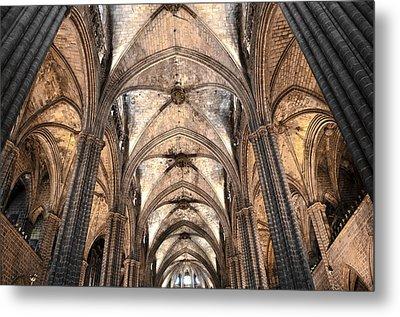 Barcelona Cathedral Vaults Metal Print