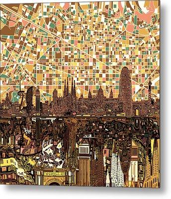 Barcelona Skyline Abstract 7 Metal Print