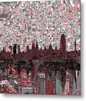 Barcelona Skyline Abstract 9 Metal Print