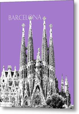 Barcelona Skyline La Sagrada Familia - Violet Metal Print