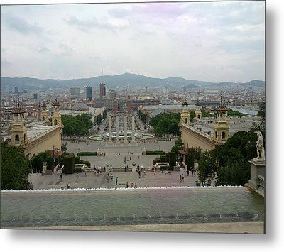 Barcelona-view From The Magical Fountain Metal Print by Shesh Tantry