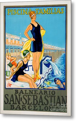Barcelona Vintage Travel Poster Metal Print