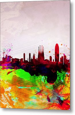 Barcelona Watercolor Skyline Metal Print