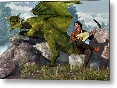 Bard And Dragon Metal Print by Daniel Eskridge