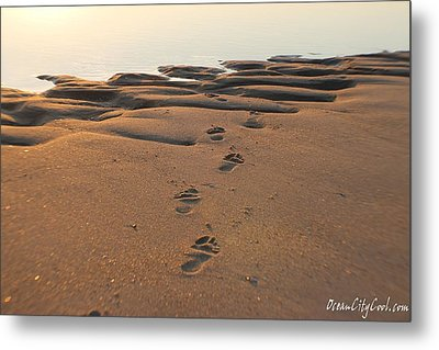 Metal Print featuring the photograph Barefoot In Sand by Robert Banach