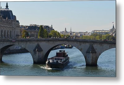 Barge On River Seine Metal Print