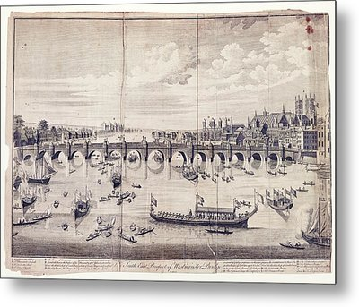 Barges At Westminster Bridge Metal Print by Library Of Congress