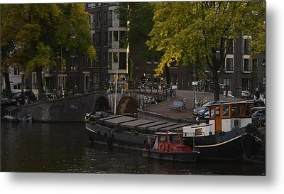 barges in Amsterdam Metal Print