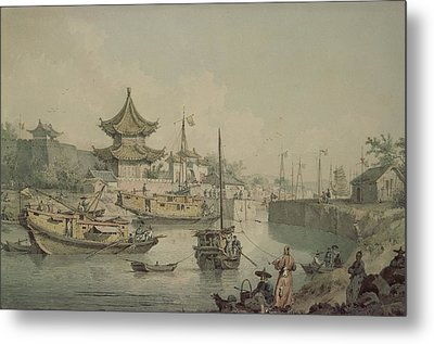 Barges Of Lord Macartneys Embassy To China Metal Print by William Alexander