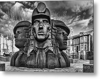 Bargoed Miners 2 Mono Metal Print