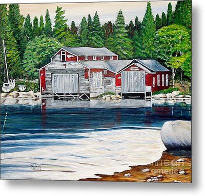 Barkhouse Boatshed Metal Print by Marilyn  McNish