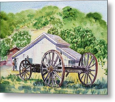 Barn And Old Wagon At Eugene O Neill Tao House Metal Print by Irina Sztukowski