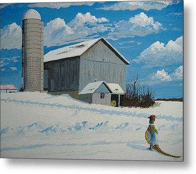 Barn And Pheasant Metal Print by Norm Starks