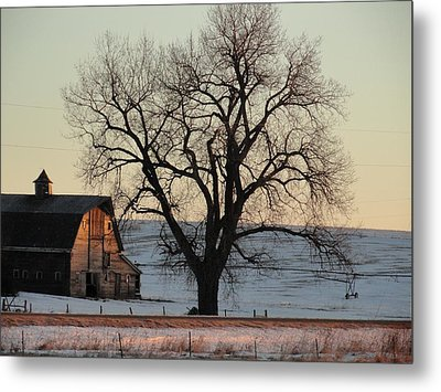 Barn At Sunrise Metal Print