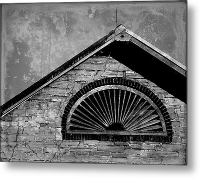 Barn Detail - Black And White Metal Print