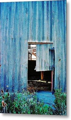 Barn Door... Monroe Co. Michigan Metal Print by Daniel Thompson