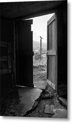 Barn Door - View From Within - Old Barn Picture Metal Print