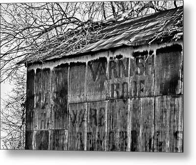 Metal Print featuring the photograph Barn Ghost Sign In Bw by Greg Jackson