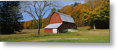 Barn In A Field, Sleeping Bear Dunes Metal Print by Panoramic Images