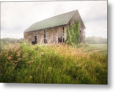 Barn In A Misty Field Metal Print by Gary Heller