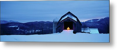 Barn In A Snow Covered Field, Vermont Metal Print by Panoramic Images