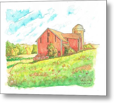 Barn In Cornfield, Wisconsin Metal Print