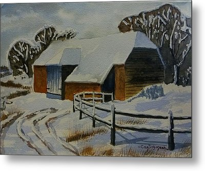Barn In Snow Metal Print by Can Dogancan