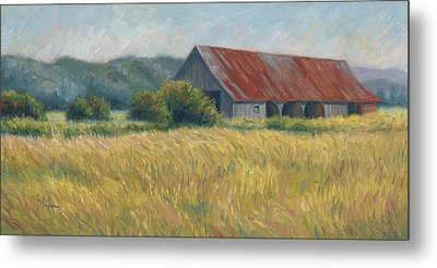 Barn In The Field Metal Print by Lucie Bilodeau