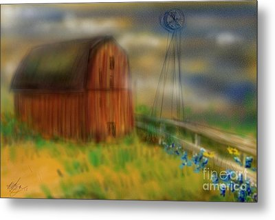Metal Print featuring the painting Barn by Marisela Mungia