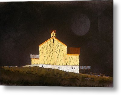 Metal Print featuring the painting Barn On Black #3 by William Renzulli