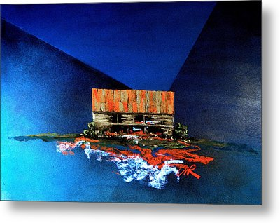 Metal Print featuring the painting Barn On Blue by William Renzulli