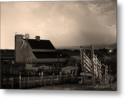 Barn On The Farm And Lightning Thunderstorm Sepia Metal Print by James BO  Insogna