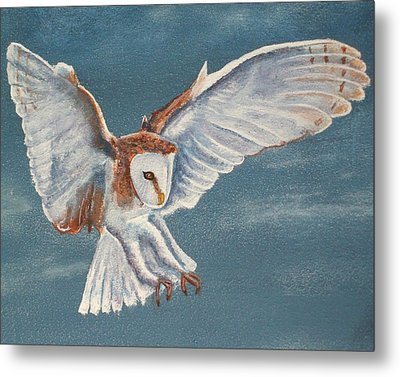 Metal Print featuring the painting Barn Owl by Dan Wagner