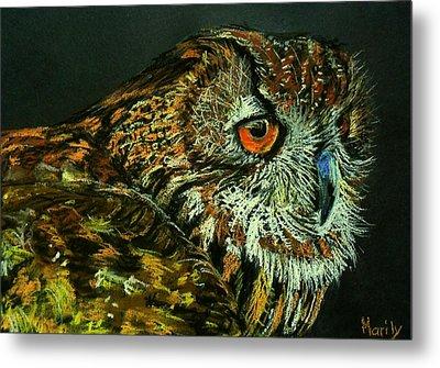 Barn Owl Metal Print by Marily Valkijainen