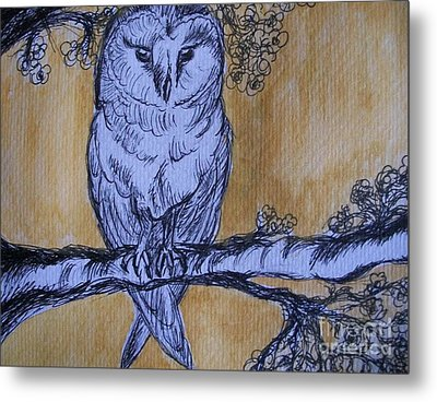 Metal Print featuring the painting Barn Owl by Teresa White