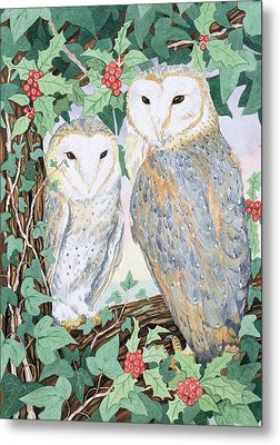 Barn Owls Metal Print by Suzanne Bailey