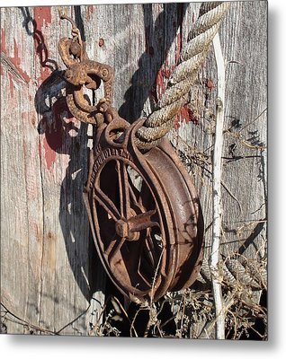 Barn Pulley Metal Print by J L Zarek