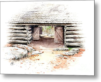 Metal Print featuring the painting Barn Stalls by Bob  George