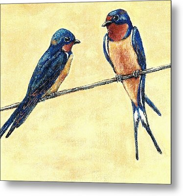 Barn-swallow Pair Metal Print by VLee Watson