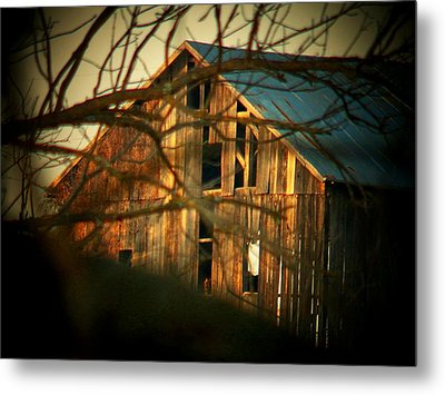 Barn Thru The Trees Metal Print by Joyce Kimble Smith
