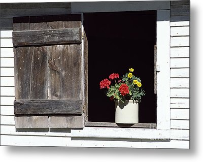 Metal Print featuring the photograph Barn Window Flowers by Alan L Graham